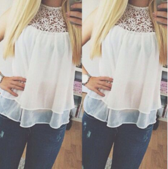 Round neck lace sleeveless T-shirt