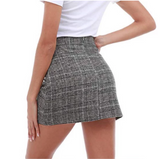 Casual Slim High Waist Plaid Hips Skirts