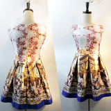 Retro Print Sleeveless Princess Dress
