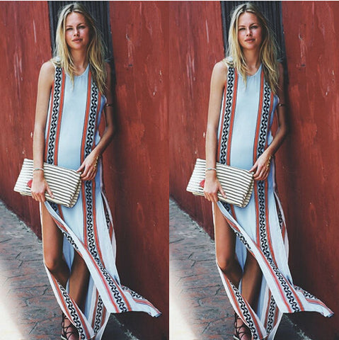 Fashion round neck sleeveless printed dress