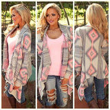 PRINTED LONG-SLEEVED KNIT CARDIGAN JACKET