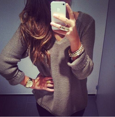 Loose V-Neck Long Sleeve Sweater