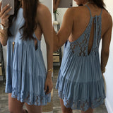 Solid Color Lace Backless Dress
