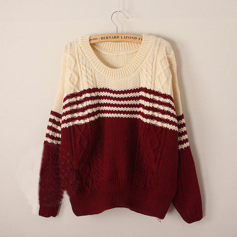 Round neck Striped long-sleeved knit sweater