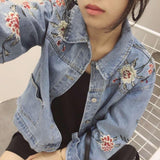 Embroidered flowers Denim blue Cardigan Jacket