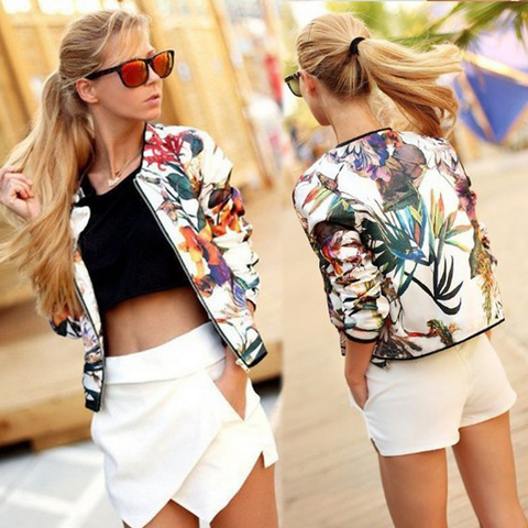 Printed long-sleeved zipper jacket