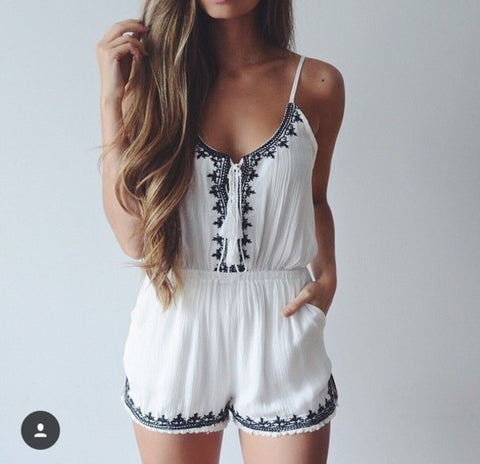 Slim sleeveless embroidered suspenders jumpsuit