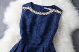 Fashion Blue Embroidered Sleeveless Dress