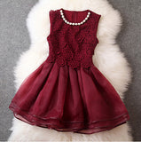 WINE RED LACE DRESS