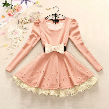 Lace Bead Bow Women's Dress