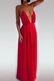 Beautiful Fabulous Deep V Neck Maxi Dress In Red