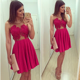 Fashion  Red V Collar Lace Yarn One-Piece