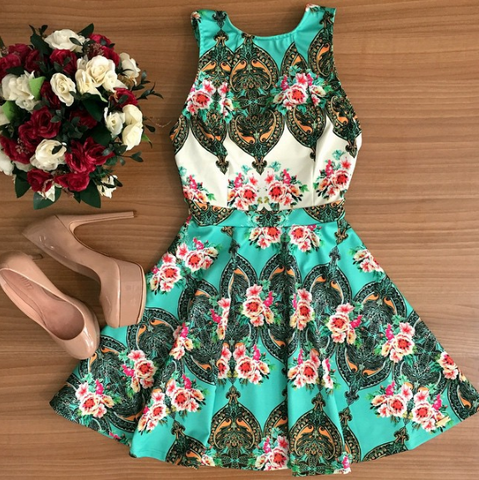 FASHION SLING SLEEVELESS PRINT DRESS