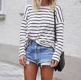 design stripes round neck T-shirt