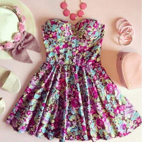 Strapless Skater Bustier Floral Print Summer Dress