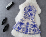 The New 2015 Blue And Nude Porcelain Sleeveless Dress Lace Embroidery
