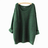 Casual Round Neck Long-Sleeved Knit Sweater