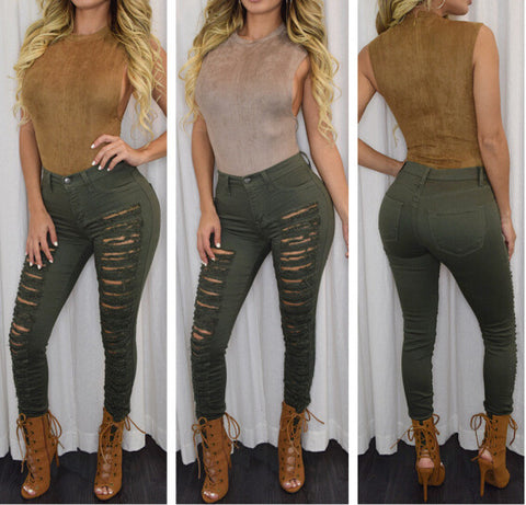 Sexy Fashion Hole Denim Trousers