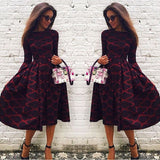 Fashion Printed Long-Sleeved Dress
