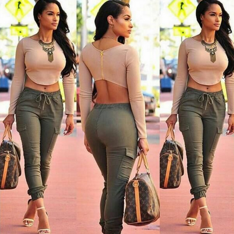 Casual long-sleeved zipper two-piece Long pants