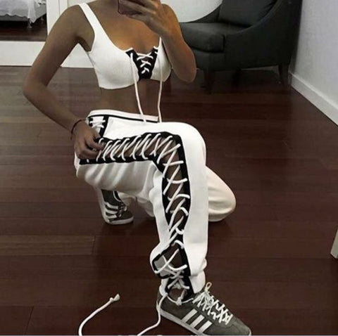Fashion sexy side lace up type loose pants White