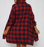 Fashion Loose Plaid Long Sleeve Irregular Cardigan Jacket Coat