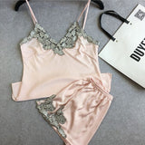 Lace embroidery silk satin shorts and suspenders pajamas tracksuit suit Ms.