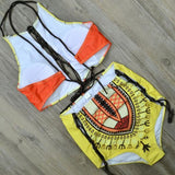 Fashion New Women Retro Print Chest Hollow Bandage High Waist Bottom Side Hollow Bandage Two Piece Bikini Swimsuit