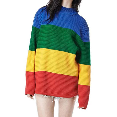 Sweater Rainbow Color Block Knitted Loose Oversized Sweater Jumper Spring Women Pullovers Sweater