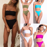 Fashion Sexy Women Pure Color Strapless High Waist Two Piece Bikini Swimsuit(8-Color)
