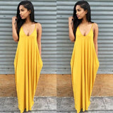 Asymmetrical Deep V Strappy Maxi Dress With Pocket