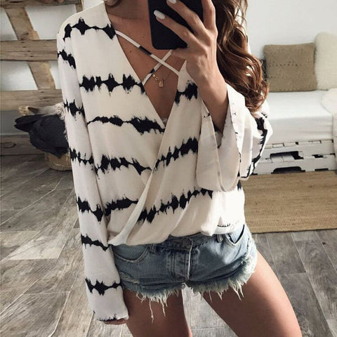 Chiffon Summer Print Long Sleeve Tops