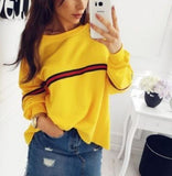 Hot sale winter long sleeve small stripe loose T-shirt top blouse