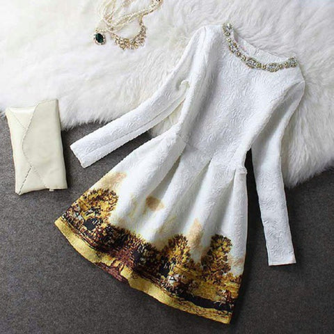 ELEGANCE SMALL FRAGRANT WIND WAS THIN WAIST LONG-SLEEVED DRESS