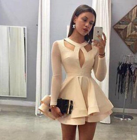 DESIGN LONG-SLEEVED MINI DRESS