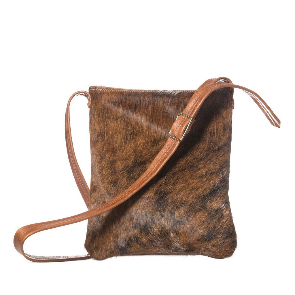 Brown hair-on leather cross-body bag handmade in the USA by Vicki Jean.