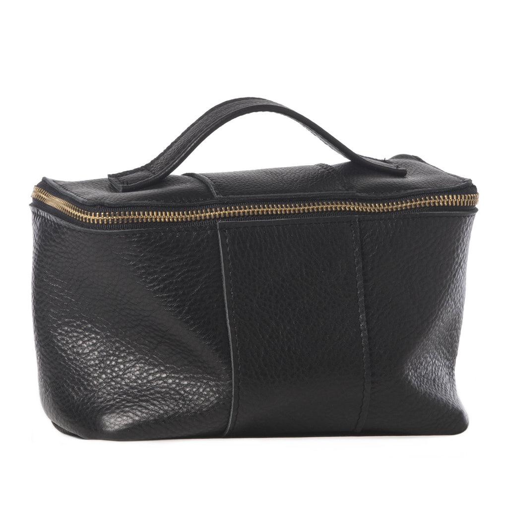 Black leather carry-all bag handmade in the USA by Vicki Jean.