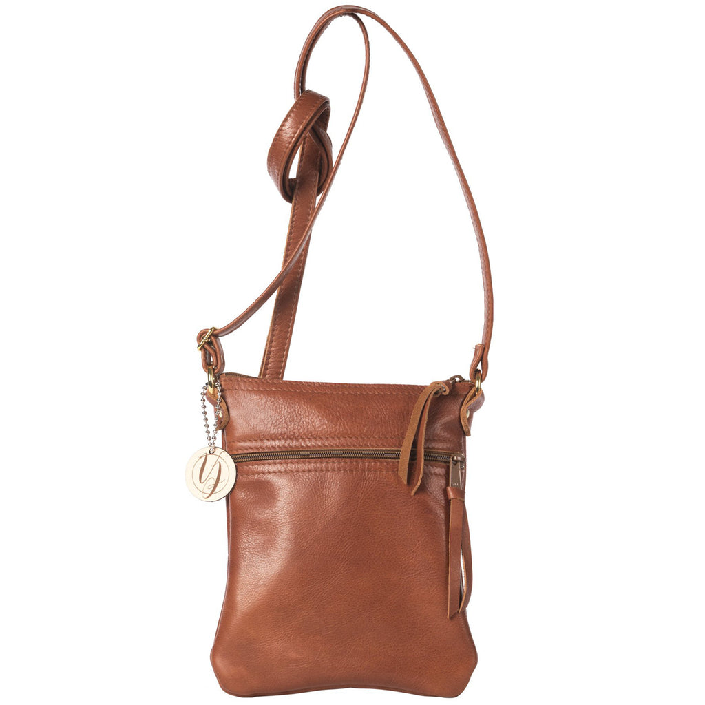 Bourbon leather cross-body bag handmade in the USA by Vicki Jean.