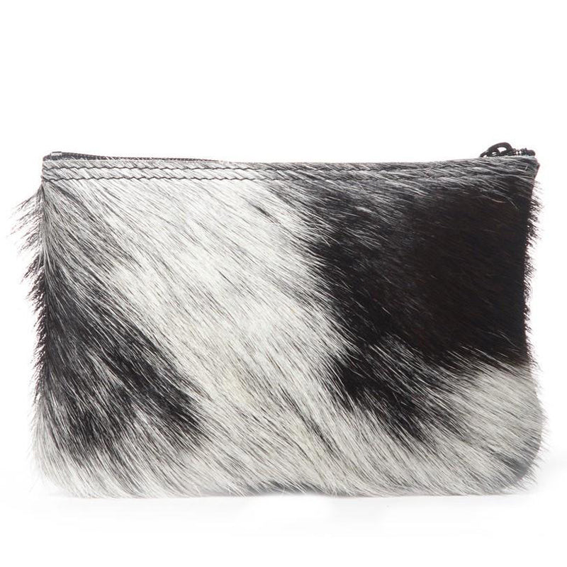White and black hair-on leather zipper pouch handmade in the USA by Vicki Jean.