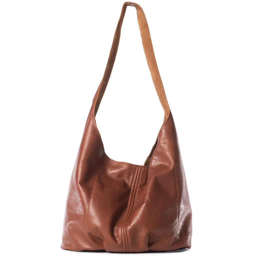 Bourbon leather hobo style handbag handmade in the USA by Vicki Jean.