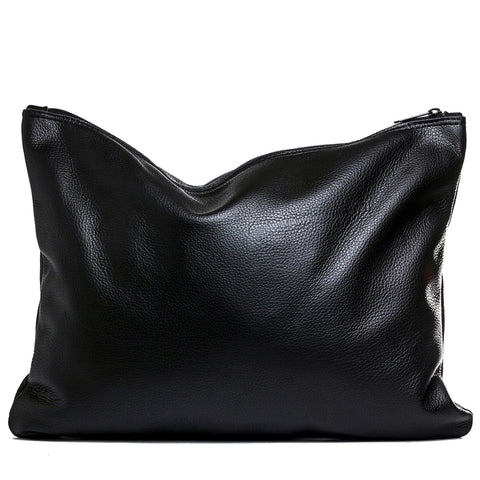 Black leather large fold-over clutch handmade in the USA by Vicki Jean.