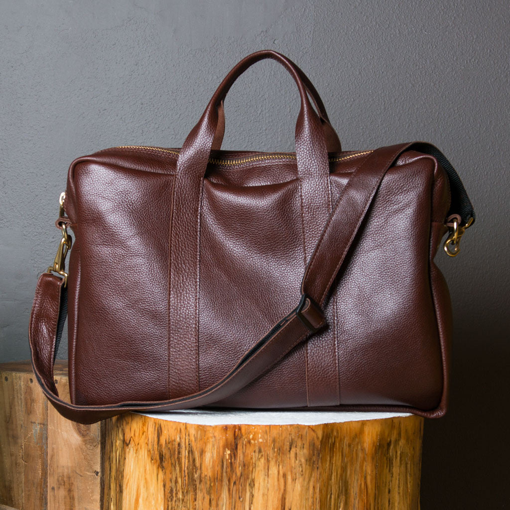 Messenger leather bag in Chocolate handmade in the USA by Vicki Jean Bags