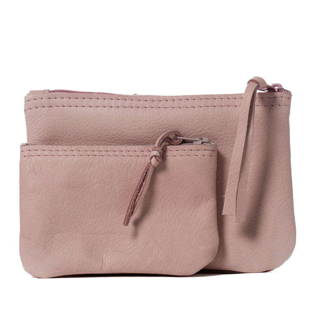 Pink leather zipper pouch handmade in the USA by Vicki Jean.