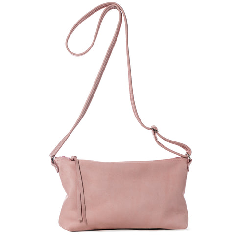Pink leather cross-body handbag handmade in the USA by Vicki Jean.