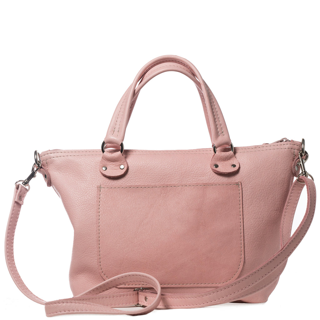 Pink leather mini handbag handmade in the USA by Vicki Jean.