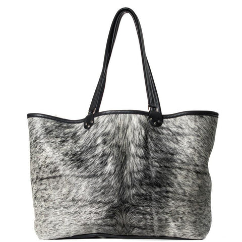Black and white hair-on large shoulder / laptop bag handmade in the USA by Vicki Jean.