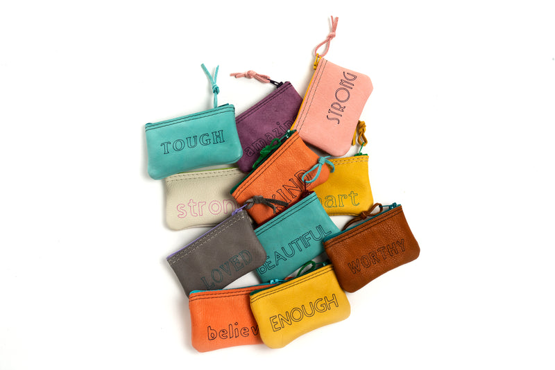 Inspirational word pouches
