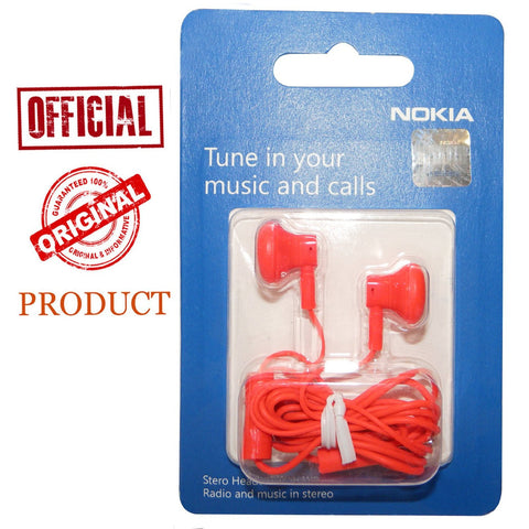 Microsoft Nokia 3.5mm WH-108 Stereo Earphones Handsfree With Mic - Red - TKM Deals