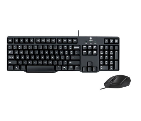 Logitech MK100 Wired Keyboard and Mouse Combo (Black)