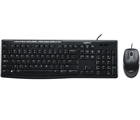 Logitech MK200 Media Wired Keyboard and Mouse Combo (Black)